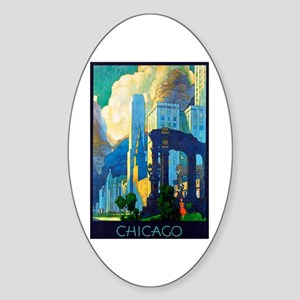Chicago Travel Poster 3 Sticker (Oval)