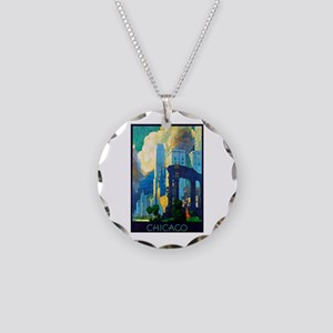 Chicago Travel Poster 3 Necklace Circle Charm