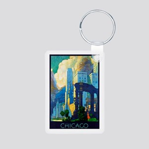 Chicago Travel Poster 3 Aluminum Photo Keychain