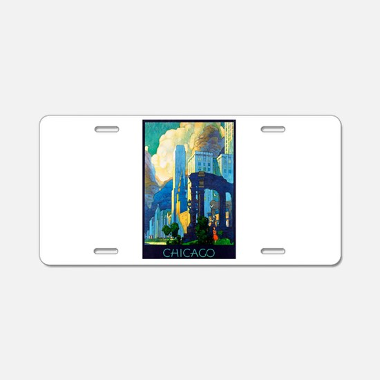Chicago Travel Poster 3 Aluminum License Plate