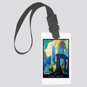 Chicago Travel Poster 3 Large Luggage Tag