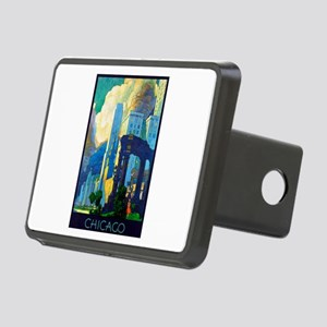 Chicago Travel Poster 3 Rectangular Hitch Cover