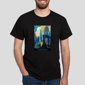 Chicago Travel Poster 3 Dark T-Shirt