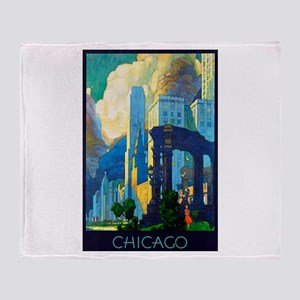 Chicago Travel Poster 3 Throw Blanket
