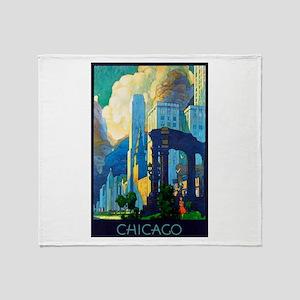 Chicago Travel Poster 3 Throw Blanket