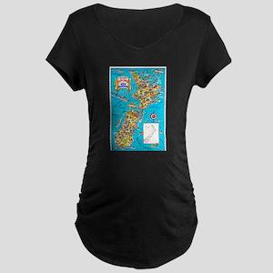 New Zealand Travel Poster 8 Maternity Dark T-Shirt