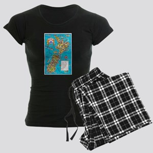 New Zealand Travel Poster 8 Women's Dark Pajamas