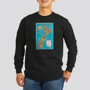 New Zealand Travel Poster 8 Long Sleeve Dark T-Shi