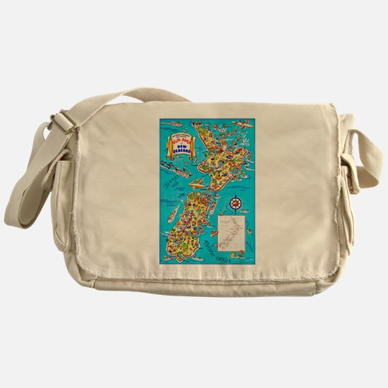 New Zealand Travel Poster 8 Messenger Bag