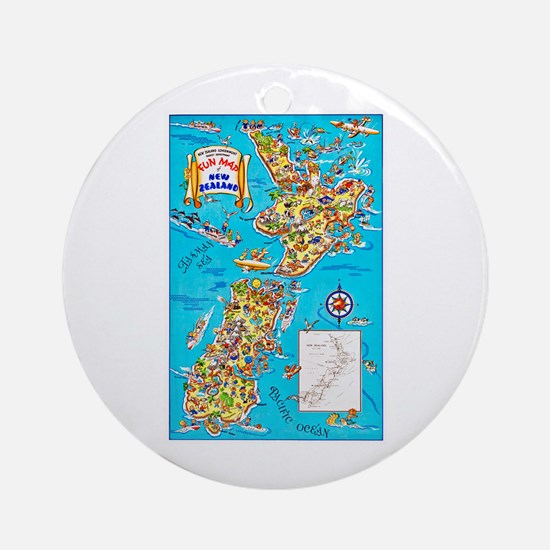 New Zealand Travel Poster 8 Ornament (Round)