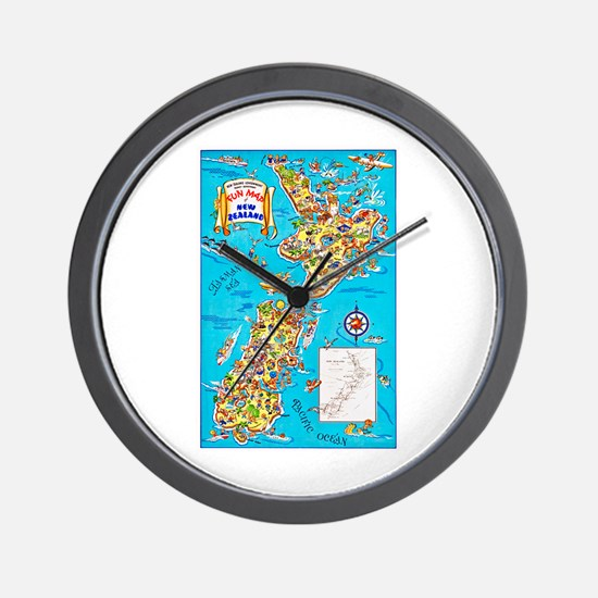 New Zealand Travel Poster 8 Wall Clock