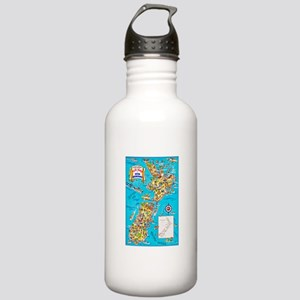 New Zealand Travel Poster 8 Stainless Water Bottle