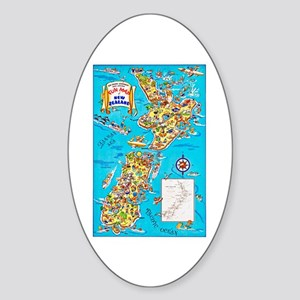 New Zealand Travel Poster 8 Sticker (Oval)