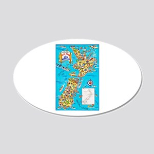 New Zealand Travel Poster 8 20x12 Oval Wall Decal