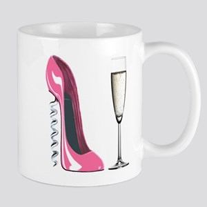 Corkscrew Pink Stiletto Shoe and Champagne Glass M