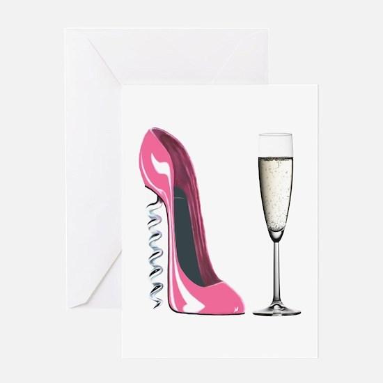 Corkscrew Pink Stiletto Shoe and Champagne Glass G