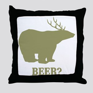 Beer Deer Bear Throw Pillow