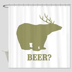 Beer Deer Bear Shower Curtain