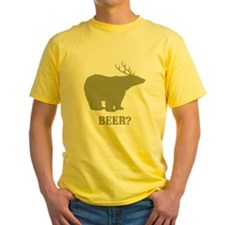 Beer Deer Bear Yellow T-Shirt