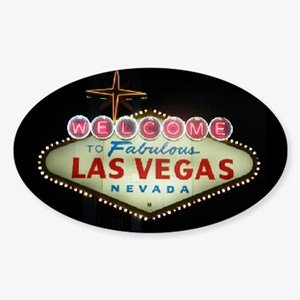Las Vegas Sign Nighttime Oval Sticker