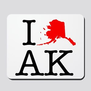 I Love AK Alaska Mousepad