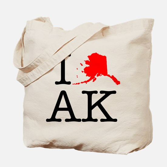 I Love AK Alaska Tote Bag