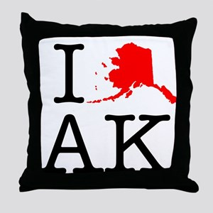 I Love AK Alaska Throw Pillow