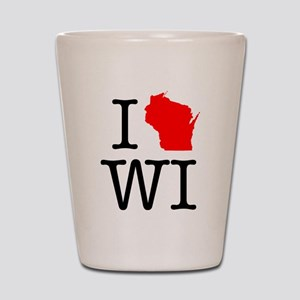 I Love WI Wisconsin Shot Glass