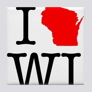 I Love WI Wisconsin Tile Coaster