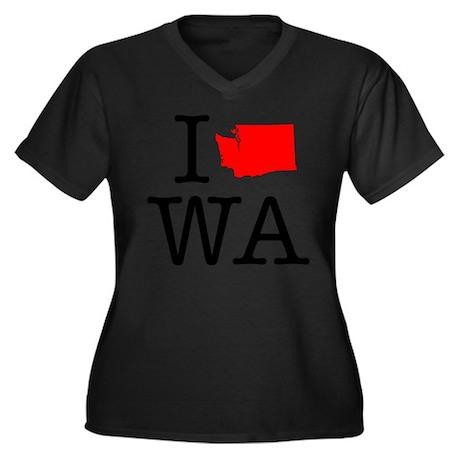 I Love WA Washington Women's Plus Size V-Neck Dark
