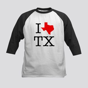 I Love TX Texas Kids Baseball Jersey