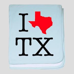I Love TX Texas baby blanket