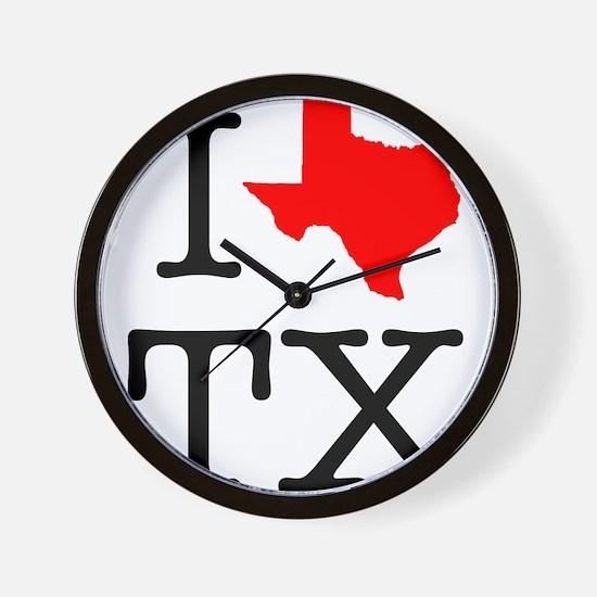 I Love TX Texas Wall Clock