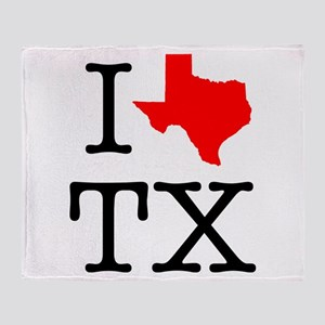I Love TX Texas Throw Blanket