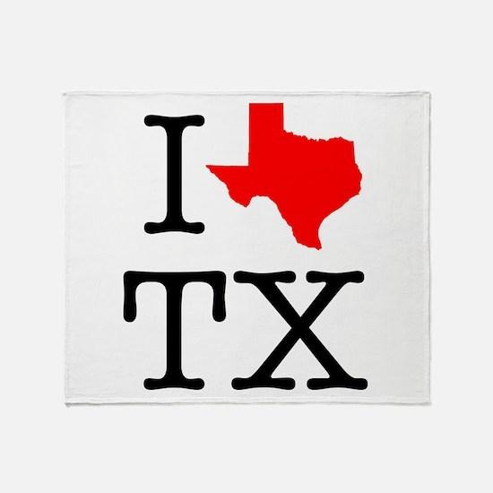 I Love TX Texas Throw Blanket