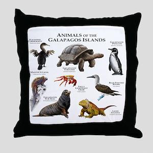 Animals of the Galapagos Islands Throw Pillow