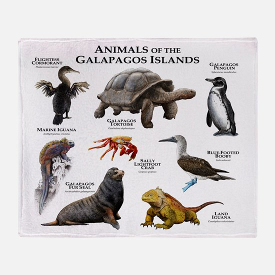 Animals of the Galapagos Islands Throw Blanket