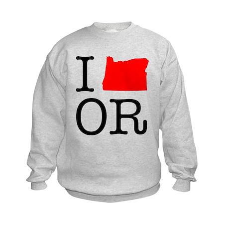 I Love OR Oregon Kids Sweatshirt