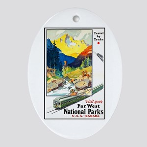 National Parks Travel Poster 6 Ornament (Oval)