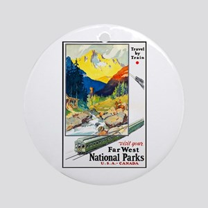 National Parks Travel Poster 6 Ornament (Round)