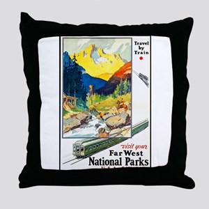 National Parks Travel Poster 6 Throw Pillow