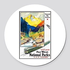 National Parks Travel Poster 6 Round Car Magnet