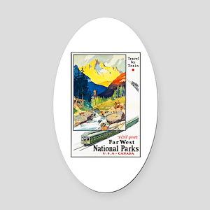 National Parks Travel Poster 6 Oval Car Magnet