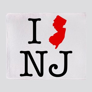 I Love NJ New Jersey Throw Blanket