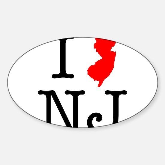 I Love NJ New Jersey Sticker (Oval)
