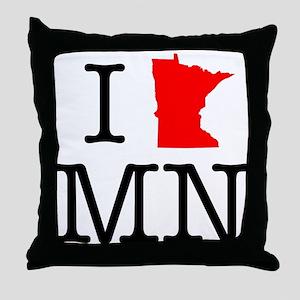 I Love MN Minnesota Throw Pillow