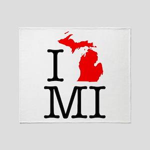 I Love MI Michigan Throw Blanket