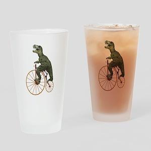 Tyrannosaurus Rex Penny Farthing Drinking Glass