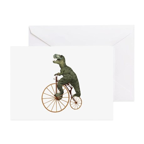 Tyrannosaurus Rex Penny Farthing Greeting Cards (P