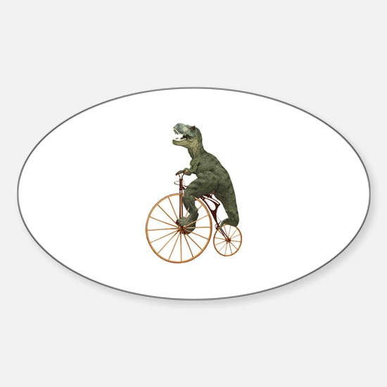 Tyrannosaurus Rex Penny Farthing Sticker (Oval)